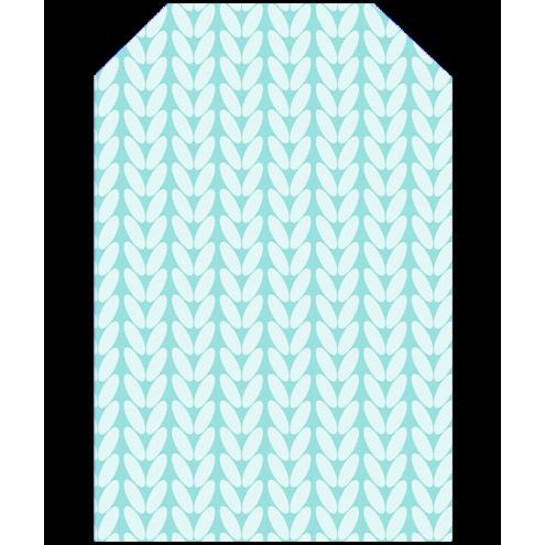 Картонная бирка домик, косы (голубые)
