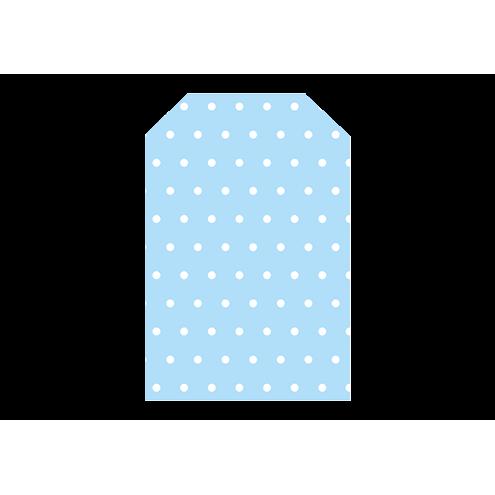 Картонная бирка домик, голубой (горох)