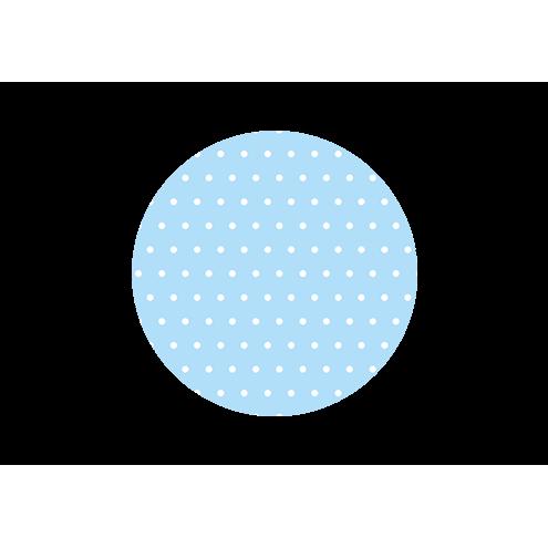 Картонная бирка круглая, голубая (горох)