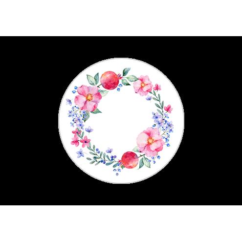 Наклейка круглая, венок (вид 3)