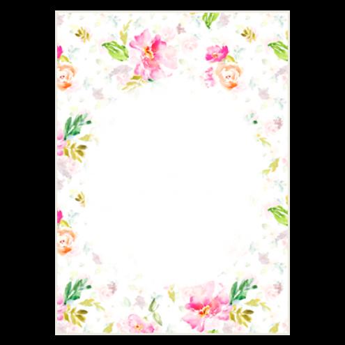 Картонная бирка прямоугольная, цветы (вид 7)