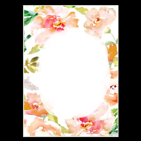 Картонная бирка прямоугольная, цветы (вид 5)