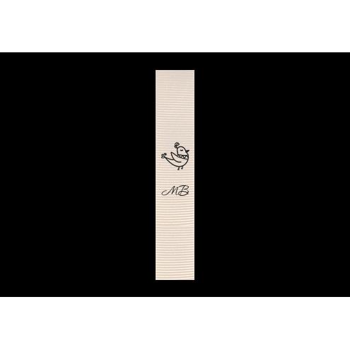 Ярлык 1,5 х 7 см., белый репс (матовый), вертикальная печать (черный)