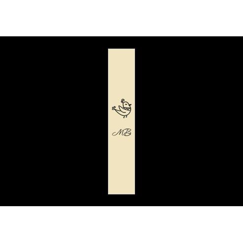 Ярлык 1,5 х 7 см., бежевый сатин (глянец), вертикальная печать (черный)