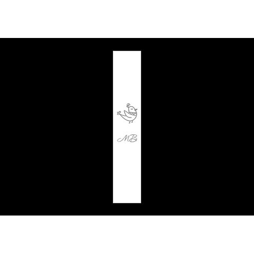 Ярлык 1,5 х 7 см., белый сатин (глянец), вертикальная печать (серебро)