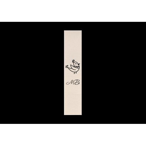 Ярлык 2 х 7 см., белый репс (матовый), вертикальная печать (черный)