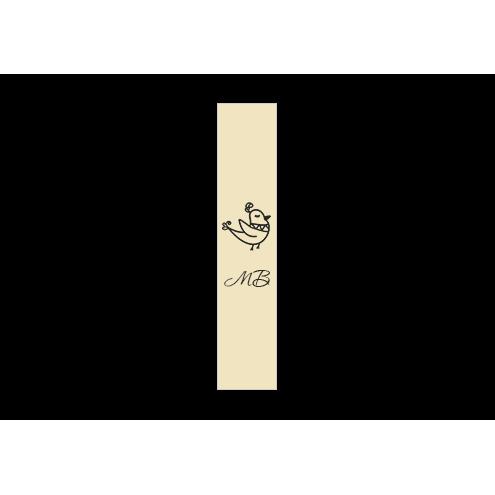 Ярлык 2 х 7 см., бежевый сатин (глянец), вертикальная печать (черный)