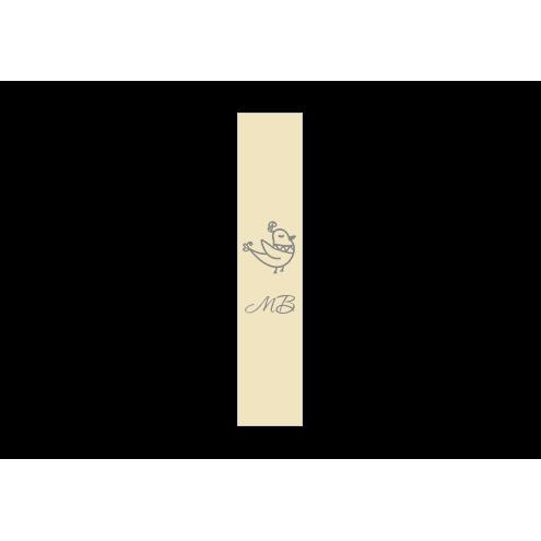 Ярлык 2 х 7 см., бежевый сатин (глянец), вертикальная печать (серебро)