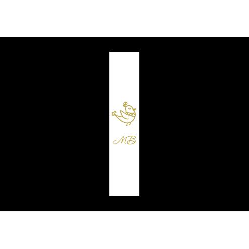 Ярлык 2 х 7 см., белый сатин (глянец), вертикальная печать (золото)