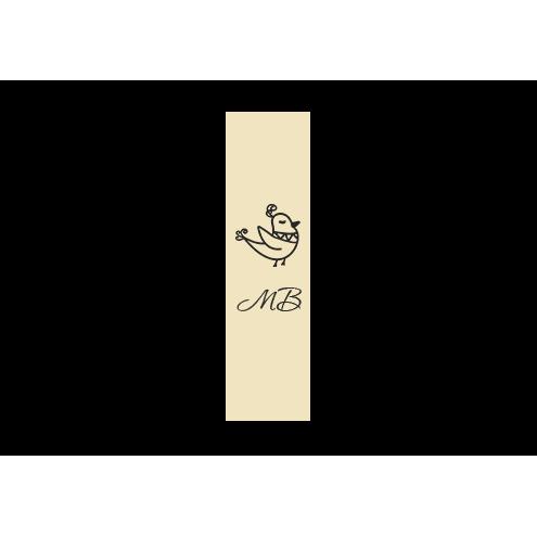 Ярлык 2,5 х 7 см., бежевый сатин (глянец), вертикальная печать (черный)