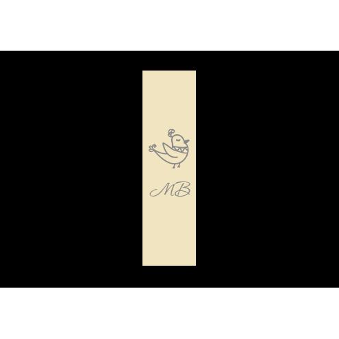 Ярлык 2,5 х 7 см., бежевый сатин (глянец), вертикальная печать (серебро)