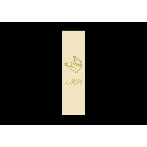 Ярлык 2,5 х 7 см., бежевый сатин (глянец), вертикальная печать (золото)