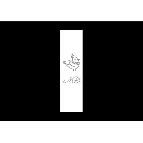 Ярлык 2,5 х 7 см., белый сатин (глянец), вертикальная печать (серебро)