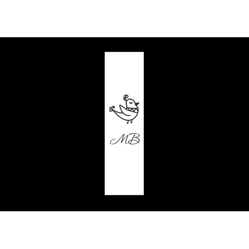 Ярлык 2,5 х 7 см., белый сатин (глянец), вертикальная печать (черный)