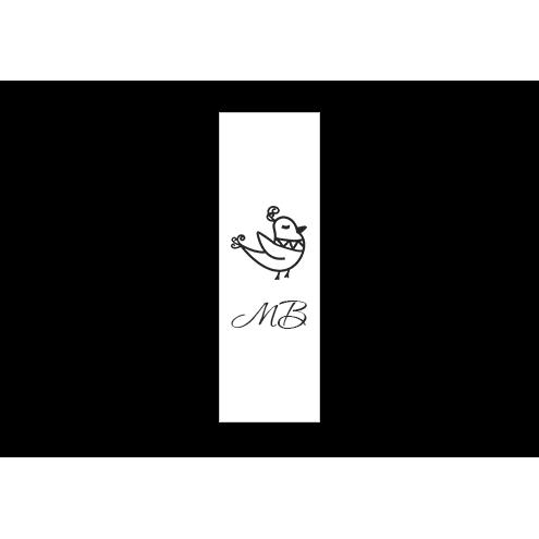 Ярлык 3 х 7 см., белый сатин (глянец), вертикальная печать (черный)
