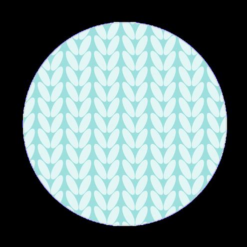 Наклейка круглая, косы (голубые)