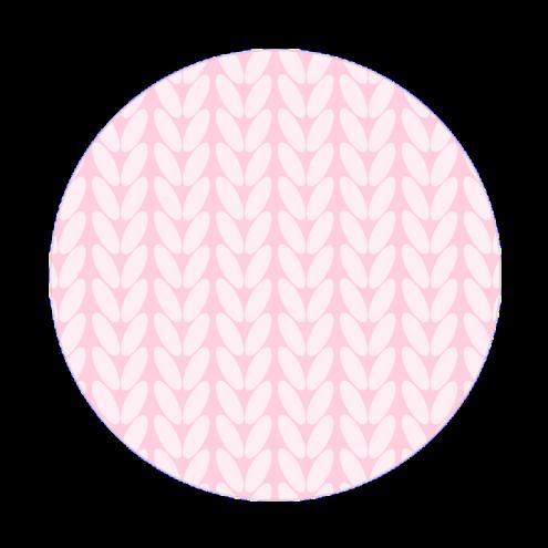 Наклейка круглая, косы (розовые)